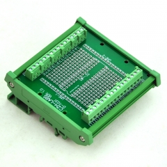 DIP-32 Component to Screw Terminal Adapter Board, w/HQ DIN Rail Mount Carrier.