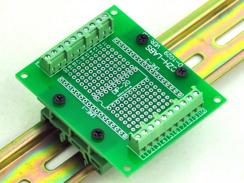 DIP-20 Component to Screw Terminal Adapter PCB, w/Simple DIN Rail Mount Bracket.