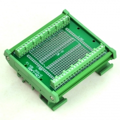 DIP-40 Component to Screw Terminal Adapter Board, w/HQ DIN Rail Mount Carrier.