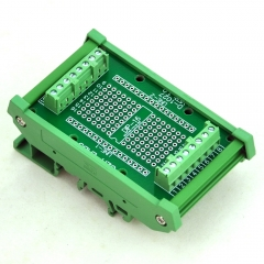 DIP-16 Component to Screw Terminal Adapter Board, w/HQ DIN Rail Mount Carrier.