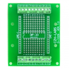 DIP-20 Component to Screw Terminal Block Adapter Board, DIP20 PCB.