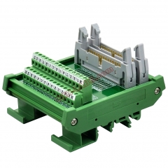 DIN Rail Mount Dual IDC30 Pitch 2.54mm Male Header Interface Module Breakout Board.