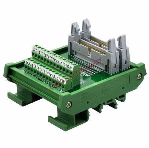 DIN Rail Mount Dual IDC26 Pitch 2.54mm Male Header Interface Module Breakout Board.