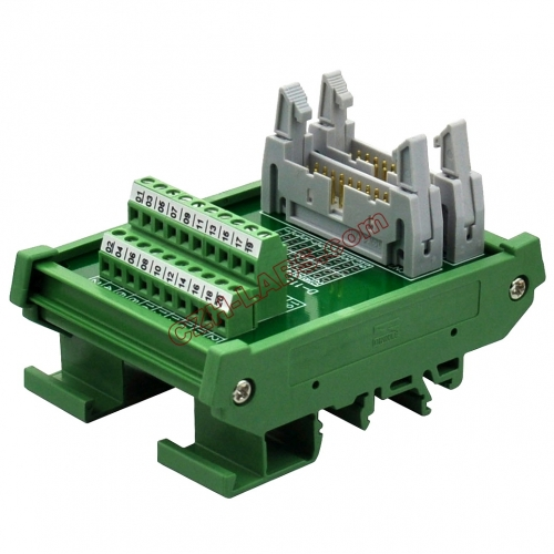 DIN Rail Mount Dual IDC20 Pitch 2.54mm Male Header Interface Module Breakout Board.