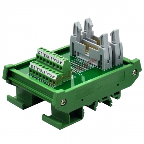 DIN Rail Mount Dual IDC16 Pitch 2.54mm Male Header Interface Module Breakout Board.