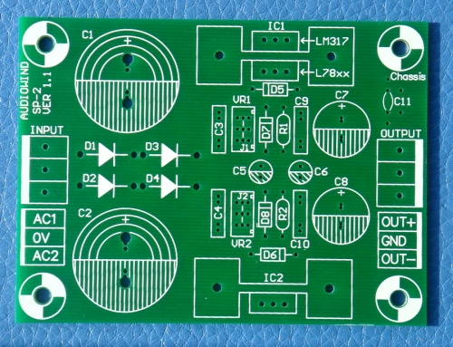 Voltage Regulator PCB for LM317 LM337 or 78xx 79xx IC.