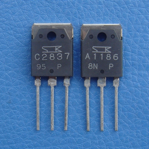2SA1186 & 2SC2837 SANKEN Audio Power Transistor, Lot of 1 Pairs.
