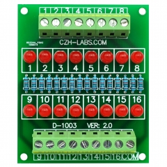 16 LEDs Indicator Light Board, Support 5~50VDC Common Positive/Negative.