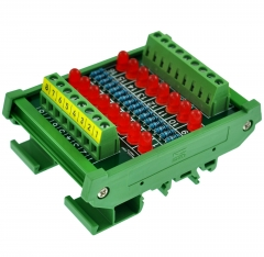 DIN Rail Mount 16 LEDs Indicator Light Module, Support 5~50VDC Common Positive/Negative