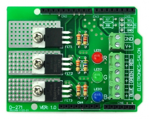 RGB LED Dimmer Shield Kit, for Arduino UNO / MEAG [SOLDERING REQUIRED]