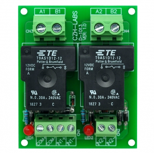CZH-Labs 12V Passive 2 SPST-NO 30Amp Power Relay Module Board.