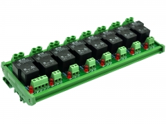 CZH-Labs DIN Rail Mount 12V Passive 8 SPST-NO 30Amp Power Relay Module.