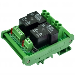 CZH-Labs DIN Rail Mount 24V Passive 2 SPST-NO 30Amp Power Relay Module.