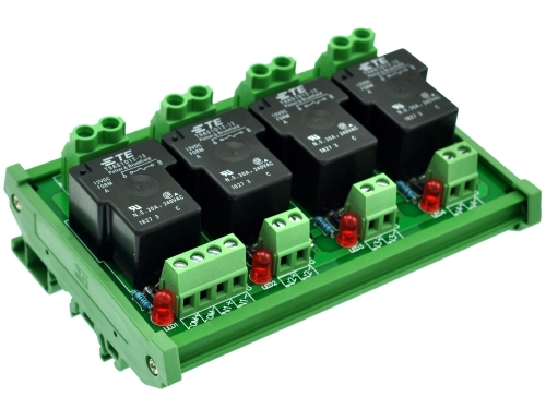 CZH-Labs DIN Rail Mount 12V Passive 4 SPST-NO 30Amp Power Relay Module.