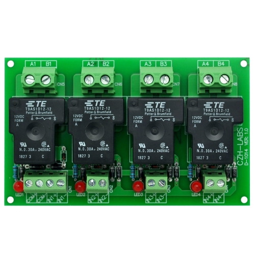 CZH-Labs 12V Passive 4 SPST-NO 30Amp Power Relay Module Board.
