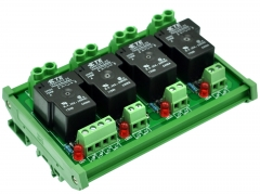 CZH-Labs DIN Rail Mount 24V Passive 4 SPST-NO 30Amp Power Relay Module.