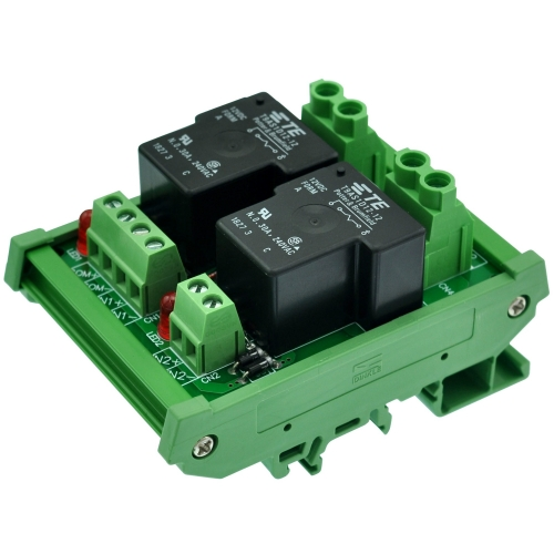 CZH-Labs DIN Rail Mount 12V Passive 2 SPST-NO 30Amp Power Relay Module.
