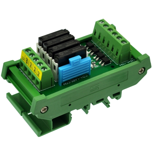 CZH-LABS DIN Rail Mount Passive DC5V 4 SPST-NO 5Amp APAN3105 Slim Power Relay Module.