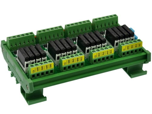 CZH-LABS DIN Rail Mount Passive DC24V 16 SPST-NO 5Amp APAN3124 Slim Power Relay Module.