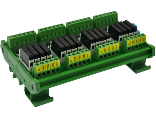 CZH-LABS DIN Rail Mount Passive DC12V 16 SPST-NO 5Amp APAN3112 Slim Power Relay Module.