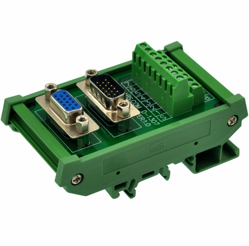 CZH-LABS DIN Rail Mount DSUB DB15HD Male/Female Header Interface Module, D-SUB Breakout Board.