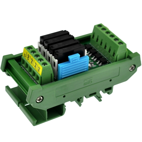 CZH-LABS DIN Rail Mount Passive DC12V 4 SPST-NO 5Amp APAN3112 Slim Power Relay Module.