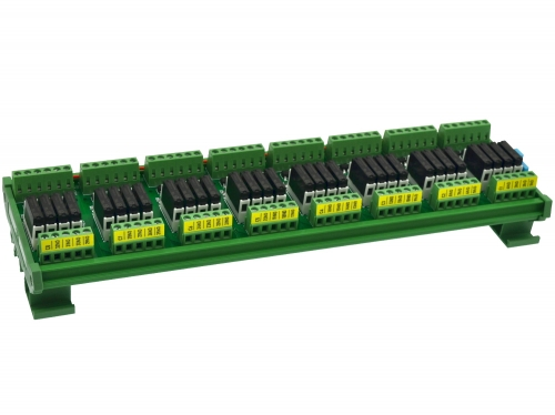 CZH-LABS DIN Rail Mount Passive DC24V 32 SPST-NO 5Amp APAN3124 Slim Power Relay Module.
