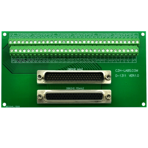 CZH-LABS DSUB DB62HD Male/Female Header Breakout Board, D-SUB Breakout Moudle.