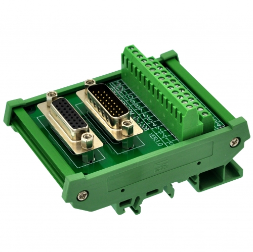 CZH-LABS DIN Rail Mount DSUB DB26HD Male/Female Header Interface Module, D-SUB Breakout Board.