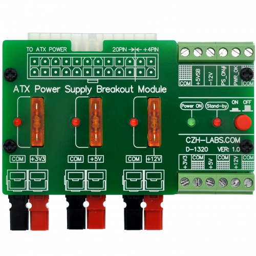 CZH-LABS 24/20-pin ATX DC Power Supply Breakout Board Module, with 30Amp Power Pole Output.