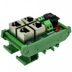 CZH-LABS DIN Rail Mount 2 Ports Passive RJ45 PoE Power Injection Board, Power Over Ethernet Injector Module.