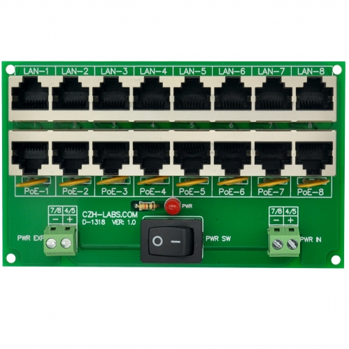 CZH-LABS 8 Ports Passive RJ45 PoE Power Injection Board, Power Over Ethernet Injector Module.