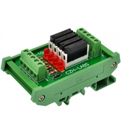 CZH-LABS Slim DIN Rail Mount DC12V Source/PNP 4 SPST-NO 5A Power Relay Module, APAN3112