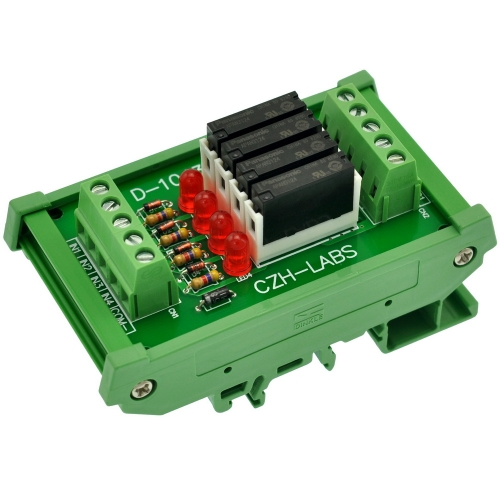CZH-LABS Slim DIN Rail Mount DC24V Source/PNP 4 SPST-NO 5A Power Relay Module, APAN3124