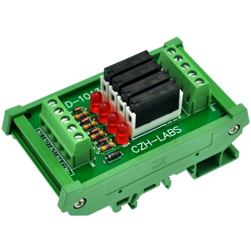 CZH-LABS Slim DIN Rail Mount DC5V Source/PNP 4 SPST-NO 5A Power Relay Module, APAN3105