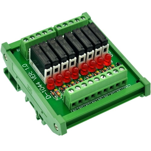 CZH-LABS Slim DIN Rail Mount DC12V Source/PNP 8 SPST-NO 5A Power Relay Module, APAN3112