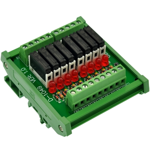 CZH-LABS Slim DIN Rail Mount DC12V Sink/NPN 8 SPST-NO 5A Power Relay Module, APAN3112