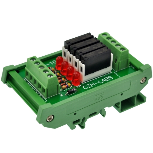 CZH-LABS Slim DIN Rail Mount DC12V Sink/NPN 4 SPST-NO 5A Power Relay Module, APAN3112
