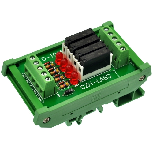 CZH-LABS Slim DIN Rail Mount DC24V Sink/NPN 4 SPST-NO 5A Power Relay Module, APAN3124