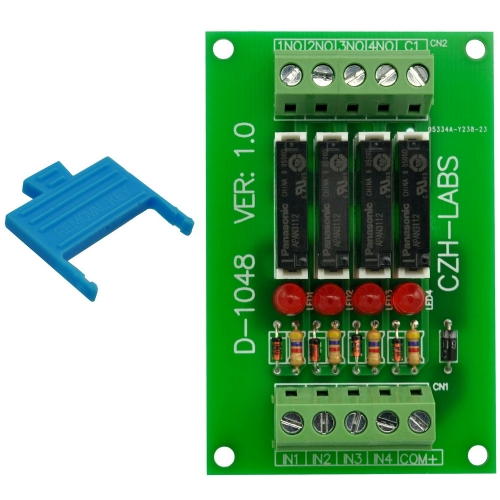 CZH-LABS Slim Panel Mount DC12V Sink/NPN 4 SPST-NO 5A Power Relay Module, APAN3112