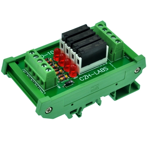 CZH-LABS Slim DIN Rail Mount DC5V Sink/NPN 4 SPST-NO 5A Power Relay Module, APAN3105