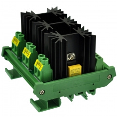 CZH-LABS DIN Rail Mount 3 Channel 12 Amp Solid State Relay SSR Module, in 4~32VDC, out 100~240VAC.