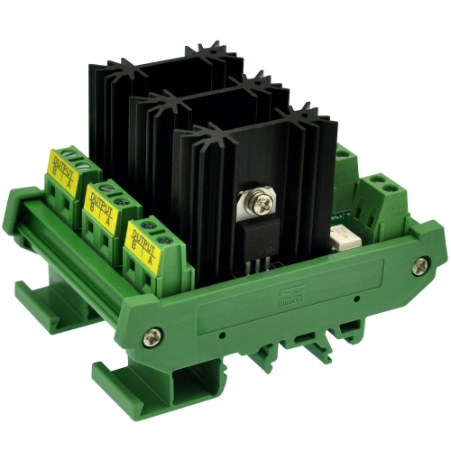 CZH-LABS DIN Rail Mount 3 Channel 8 Amp Solid State Relay SSR Module, in 4~32VDC, out 100~240VAC.