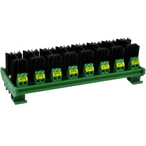 CZH-LABS DIN Rail Mount 8 Channel 12 Amp Solid State Relay SSR Module, in 4~32VDC, out 100~240VAC.