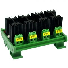 CZH-LABS DIN Rail Mount 4 Channel 12 Amp Solid State Relay SSR Module, in 4~32VDC, out 100~240VAC.