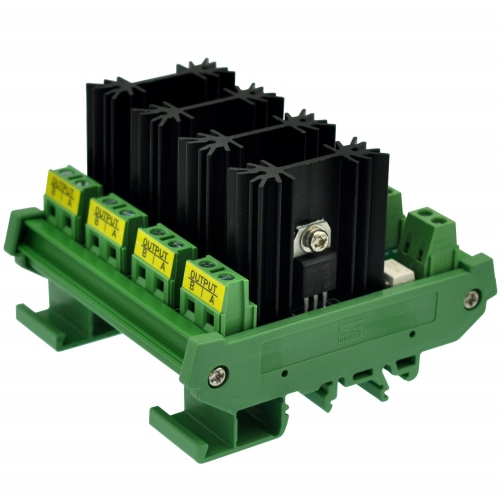 CZH-LABS DIN Rail Mount 4 Channel 8 Amp Solid State Relay SSR Module, in 4~32VDC, out 100~240VAC.