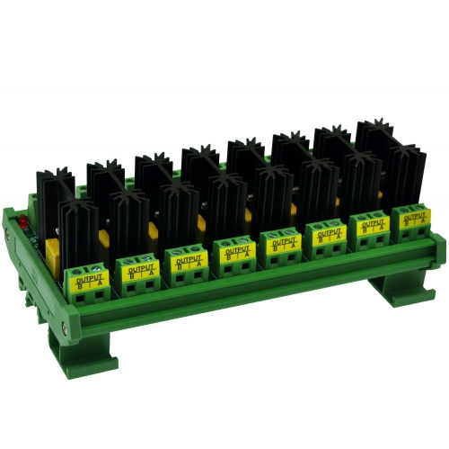 CZH-LABS DIN Rail Mount 8 Channel 8 Amp Solid State Relay SSR Module, in 4~32VDC, out 100~240VAC.