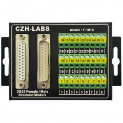 CZH-LABS D'SUB DB25 Male/Female Screw Terminal Block Breakout Interface Module with Aluminum Enclosure.