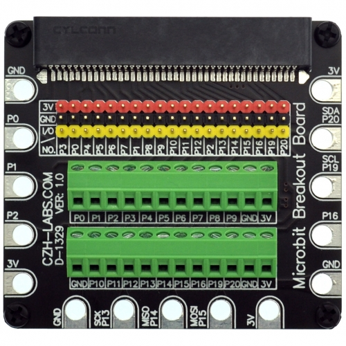 Edge Connector IO Breakout Board for BBC micro:bit, Microbit Breakout Module.