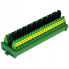 CZH-LABS Screw Mount 20 Position Screw Terminal Block Distribution Module with 10 Channel Fuses